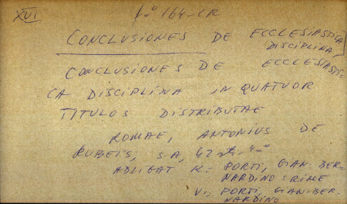 Conclusiones de ecclesiastica disciplina in quatuor titulos distributae