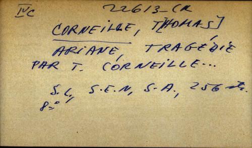 Ariane, tragedie par T. Corneille