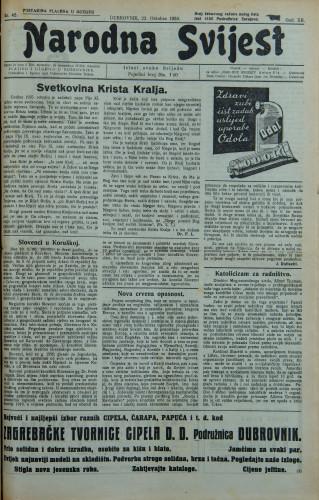 Narodna svijest, 1930/42