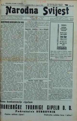 Narodna svijest, 1930/31