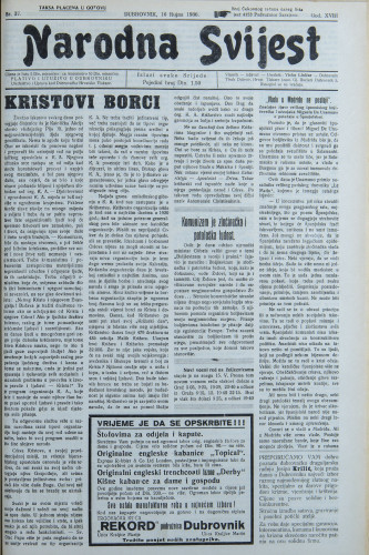 Narodna svijest, 1936/37