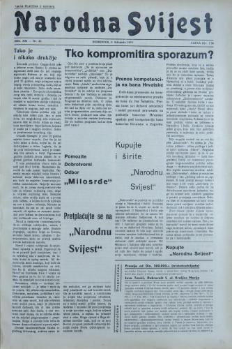 Narodna svijest, 1939/40
