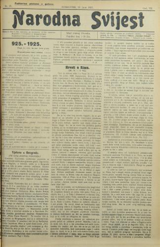 Narodna svijest, 1925/25