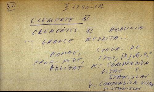 Clementis XI homilia... Graece reddita...