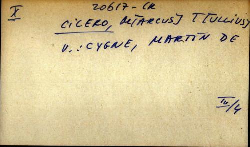 Cicero, M[arcus] T[ullius] - uputnica