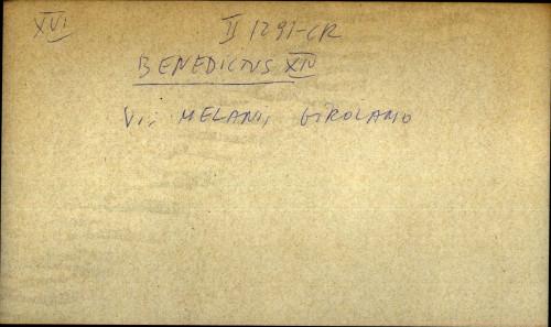 Benedictus XIV - uputnica