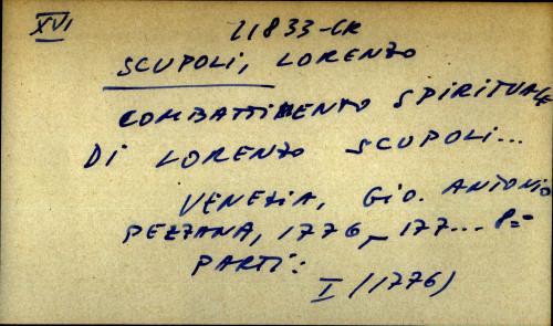 Combattimento spirituale di Lorenzo Scupoli ...