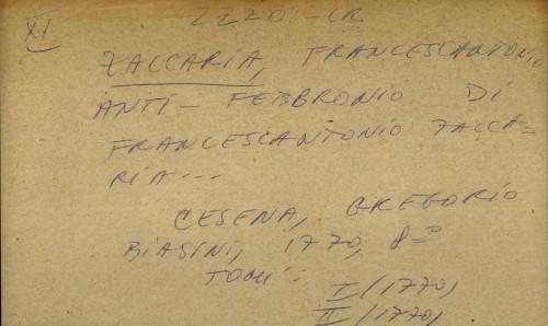 Anti-Febbronio di Francescantonio Zaccaria...