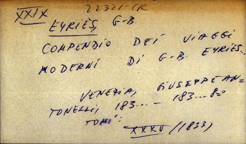 Compendio dei viaggi moderni di G. B. Eyries