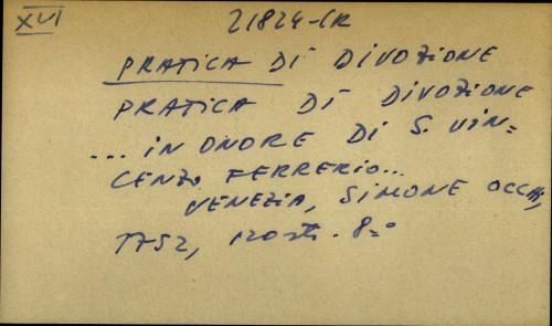 Pratica di divozione… in onore di s. Vincenzo Ferrerio...