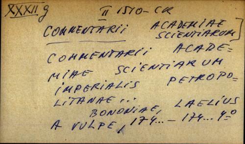 Commentarii academiae scientiarum imperialis petropolitanae....