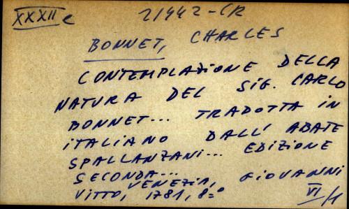 Contemplazione della natura del sig. Carlo Bonnet tradotta in italiano dall' Abate Spallanzani