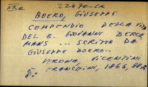Compendio della vita del B. Giovanni Berchmans scrito de Giuseppe Boero