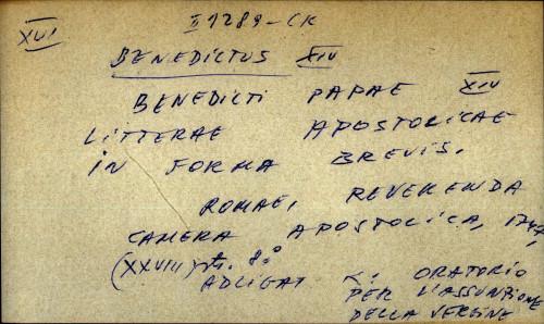 Benedicti papae XIV litterae apostolicae in forma brevis