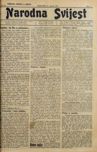 Narodna svijest, 1923/35