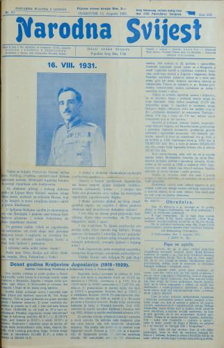 Narodna svijest, 1931/33