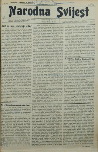 Narodna svijest, 1926/27