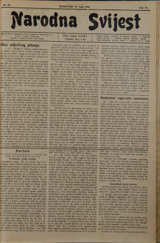 Narodna svijest, 1922/22
