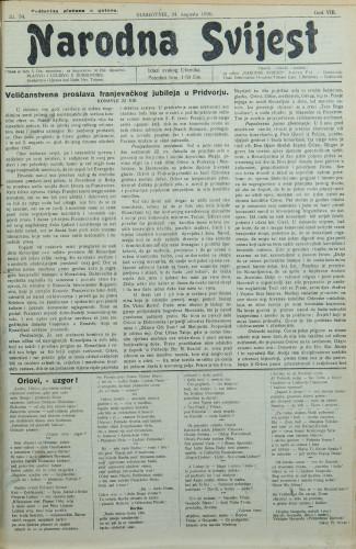 Narodna svijest, 1926/34