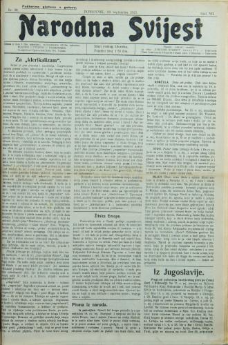 Narodna svijest, 1925/38