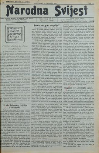 Narodna svijest, 1927/38