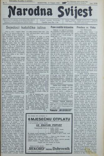 Narodna svijest, 1936/7