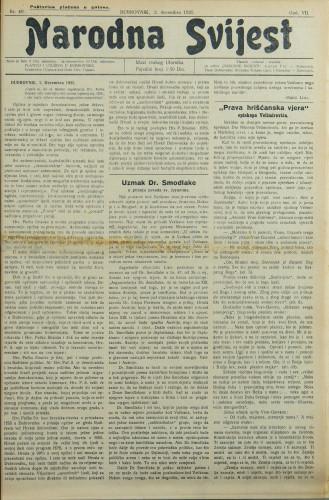 Narodna svijest, 1925/49