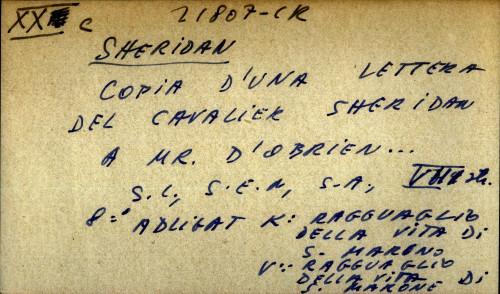 Copia d' una lettera del cavalier Sheridan a Mr. D' Obrien...