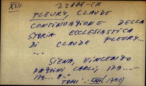 Continuazione della storia ecclesiastica di Claude Fleury
