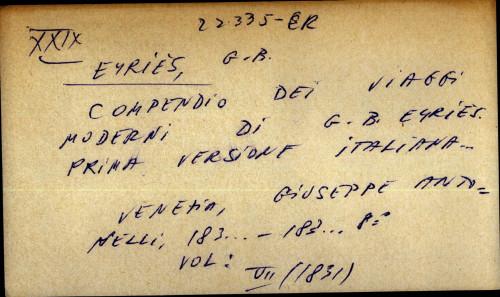 Compendio dei viaggi moderni di G.B.Eyries