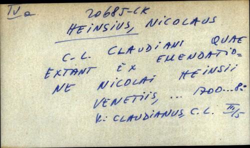 C. L. Claudiani quae extant ex emendatione Nicolai Heinsii - uputnica