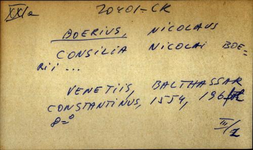 Consilia Nicolai Boerii