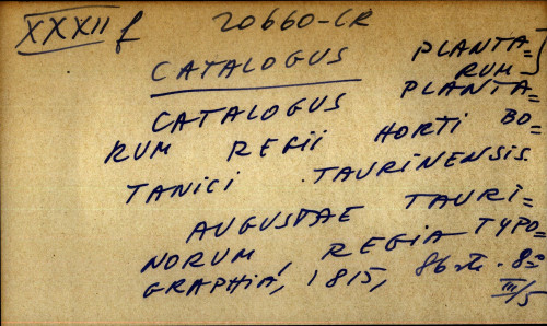 Catalogus plntarum regii horti botanici taurinensis.