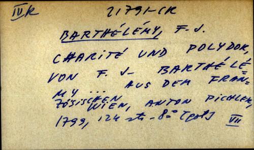 Charite und polydor, von F.J. Barthelemy aus dem franzosischen