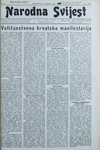 Narodna svijest, 1936/41