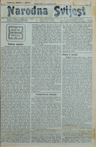 Narodna svijest, 1927/37