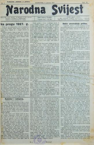 Narodna svijest, 1927/1