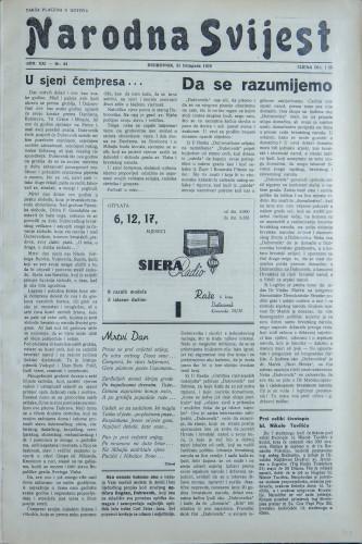 Narodna svijest, 1939/44