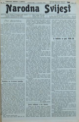 Narodna svijest, 1927/48