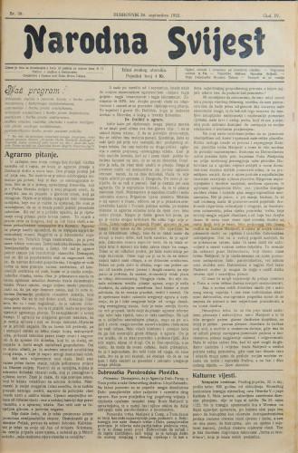 Narodna svijest, 1922/38