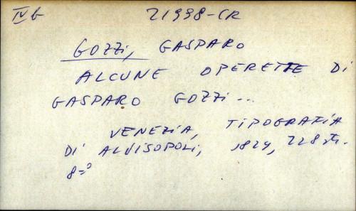 Alcune operette di Gasparo Gozzi