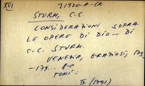 Considerazini sopra le opere di Dio...di C. C. Sturm...
