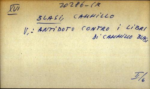 Antidoto contro i libri di Camillo Blasi - uputnica