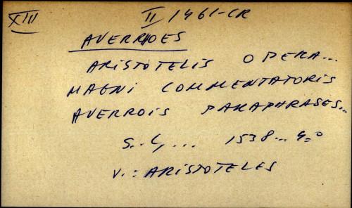Aristotelis opera ... magni commentatoris averrois paraphrases ... - uputnica