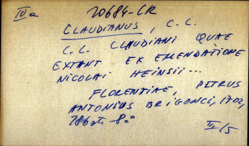 C. L. Claudiani quae extant ex emendatione Nicolai Heinsii...