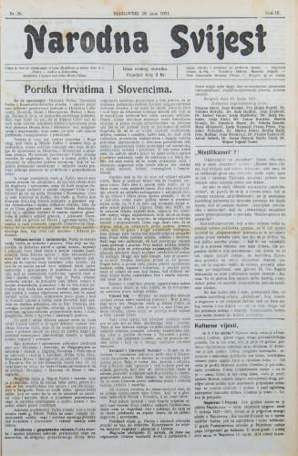 Narodna svijest, 1921/26