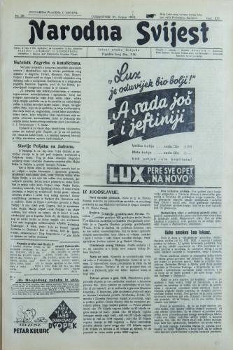 Narodna svijest, 1932/38