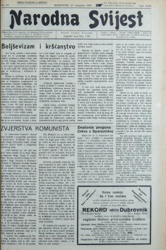 Narodna svijest, 1936/43