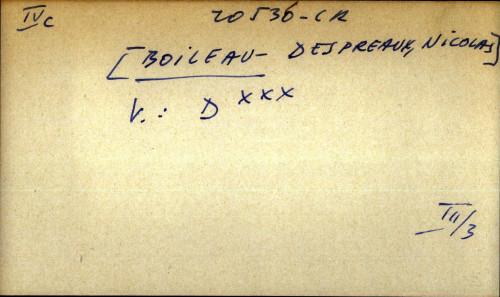 Boileau - Despreaux, Nicolas - uputnica