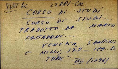 Corso di studi... Tradotto da Marco Fassadoni...